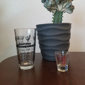 Midcentury Cocktail Recipe Glass and Shot Glass